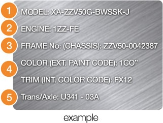 How to Find Model Code and Chassis Number - BE FORWARD Auto Parts
