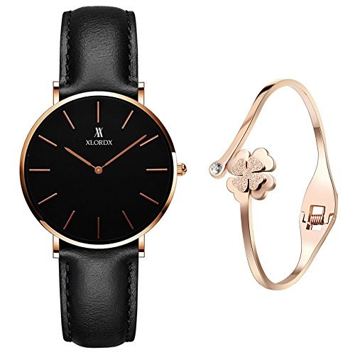 XLORDX 36mm Ladies Watch classic minimalism ultra thin lightweight black leather band Black dial + Rose gold bracelet
