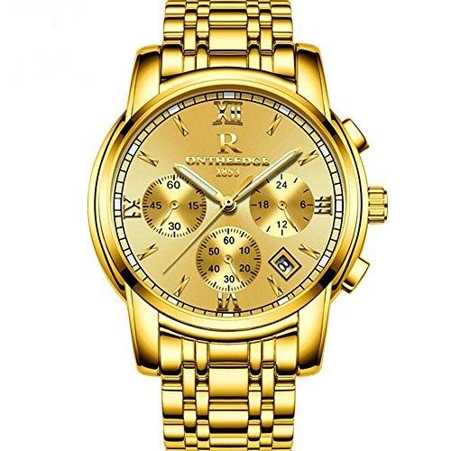 Smalody Mens Watch top brand luxury fashion business quartz watch mens sports full steel waterproof watch (gold)